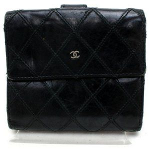 Chanel  Black Lambskin Square Compact Wallet